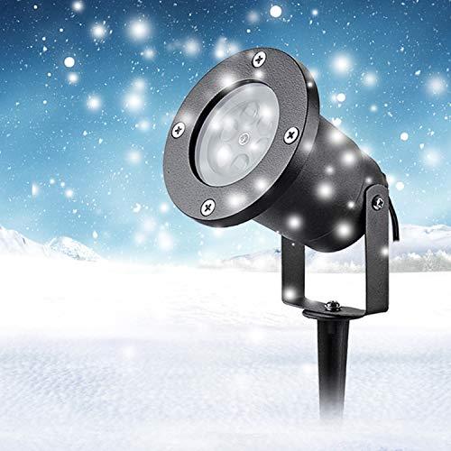 LED Projektor Lichter,LED Projektionslampe Weiß Snowflake Landschaft Weihnachts Wandstrahler Außenstrahler Lichteffekte dynamische Motive, Party Licht, Gartenlicht für Festen DJ Xmas - 4