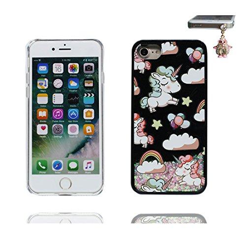 iPhone 7 Plus Custodia, Glitter Glitter Flowing Safe / Case iPhone 7 Plus Copertura / Shock Dust Resistant Shell e tappi antipolvere (gratis) / Cartoon Cover Spazio Pianeti galassiali Nero 2