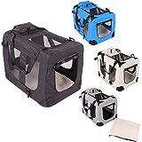 Transportbox faltbar inklusive Polster Hundebox Autobox Katzen in verschiedenen Farben & Größen (L, Schwarz)