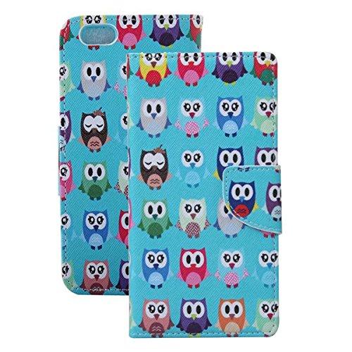 Etche Schutzhülle für iPhone 6S/6 4.7 Zoll Ledertasche,iPhone 6S/6 4.7 Zoll HandyHülle bunt Muster,iPhone 6S/6 4.7 Zoll wallet Schutzhülle, niedlich bunt kreativ hübsch Blumen Flip Cover PU Leder Case niedlich Eulen