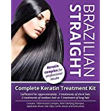 Searching Plants Brazilian Straight, Keratin Home Use Treatment Kit, Salon Quality Hair Straightening/Blow Dry/Smoothing, 100
