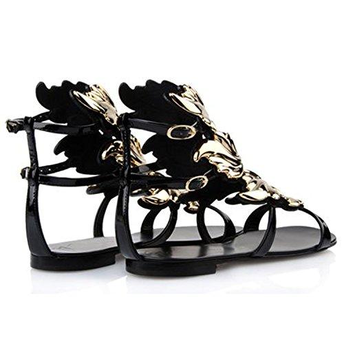 Oasap Damen Fashion Peep Toe Blatt Sandalen Black
