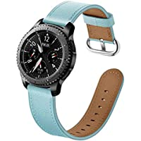 samLIKE Pulsera de Piel para Samsung Galaxy Watch 42mm–Premium Piel Brazalete Deportivo Ajustable para Pulsera para Hombre y Mujer, 3Colores, Color Azul