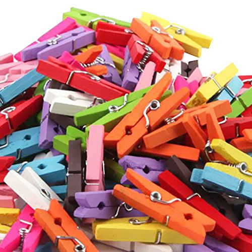 KRAFTMASTERS100 Pieces 2.5cm Mini Colorful Natural Wooden Photo Clip Paper Peg Clamp Clothespin Wood Craft Clips
