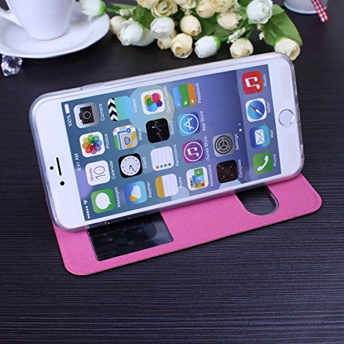 iPhone Case Cover neue einfarbig offene fenster brieftasche flip leder + tpu cover fall stehen für iphone 65 plus ( Color : Rose , Size : IPhone 6S Plus ) Rose