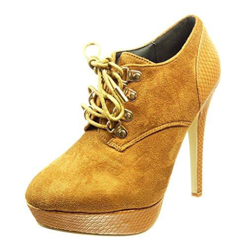 peau Angkorly Mode 12 CM plateforme stiletto serpent métallique de boots Camel Talon low haut femme Bottine Chaussure aiguille qqrpw8