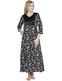 b25c7741e0 Patrorna Cotton Silk Blend Women s Shift Nighty Night Dress Gown in Black  Print (Size