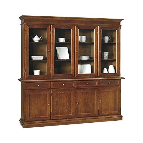 InHouse srls Credenza con cristalliera, arte povera, in legno massello e mdf con rifinitura in noce lucido - Mis. 205 x 42 x 205