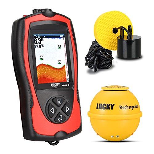 Lucky ff1108–1CLA kabellos/Verkabelt Sonar Fisch-Finder Licht Lure Sensor Alarm System tiefere Fishfinder