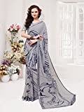 Ankit Fashions Grey Georgette Printed Saree