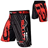 FOX-FIGHT BULLET12 MMA Fight Hosen Short Muay Thai Kickboxen UFC Kampfsport Boxen Training L Schwarz