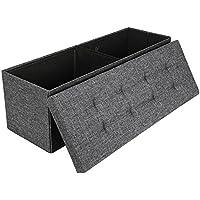 Preisvergleich für EFACONCEPT Faltbare Sitzbank XL HBT 38 x 114 x 38 cm stabiler Sitzcube mit praktischer Fußablage als Sitzwürfel aus Leinen als Aufbewahrungsbox mit Stauraum und Deckel zum Abnehmen für Wohnraum, grau (dunkelgrau)