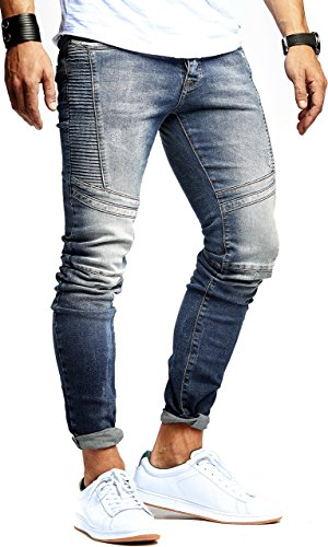 LEIF NELSON Herren Jeanshose Biker Jeans gesteppt Hose Stretch Blau Denim Slim Fit LN9920BL; W32L32, Blau