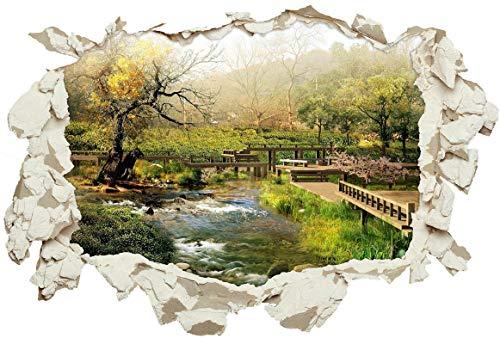 Unified Distribution Japanischer Garten – Wandtattoo mit 3D Effekt, Aufkleber für Wände und Türen Größe: 92×61 cm, Stil: Durchbruch