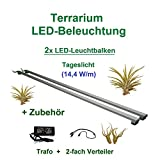 Aquarium-Plüderhausen Terrarium LED Beleuchtung Wüsten Reptilien Pflanzen LED 50 cm Set2 Leuchtbalken