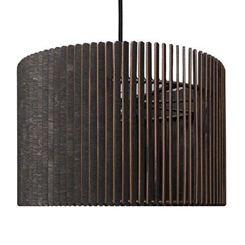 Barril Lampe à suspension – Suspension en bois – Suspension au design moderne – plusieurs couleurs disponibles, noir, ø 50 cm, Höhe 20 cm
