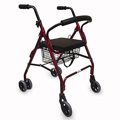 Andador de aluminio con frenos por presión | 2 ruedas delanteras giratorias y 4 traseras | asiento acolchado y cesta de la compra