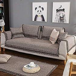 AFAHXX Dick Anti-rutsch Sofa Überwürfe Sofabezug Für Sofa,Dekoration Volltonfarbe Leinen Möbel-schutzhülle Sofahusse Sofaüberwurf Sofa Abdeckung-braun 70 * 210cm(28 * 83inch)