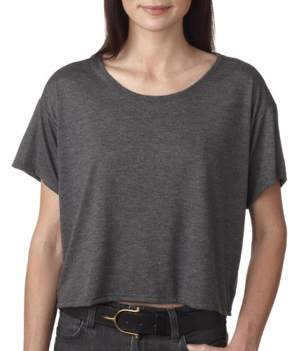 Bella – Damen-Bauch Boxy zugeschnitten Crewneck T-Shirt Dark Grey Heather
