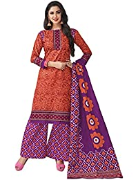 HRINKAR Women's Cotton Salwar Suit Dupatta Dress Material (HRKT1618_Yellow And Pink_Free Size)