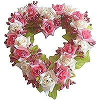 LinTimes, ghirlanda a forma di cuore fatta a mano, con fiori finti, ideale come decorazione per casa, auto, porte e matrimoni
