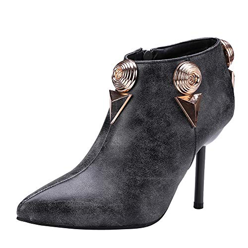 TianWlio Stiefel Frauen Herbst Winter Schuhe Stiefeletten Boots Stiefeletten Stiletto High Heel Shoes Metallschnalle Seitlicher Reißverschluss Stiefel Grau 35
