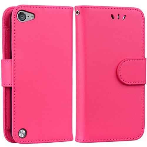 Yunbaoz iPod Touch 5/6 Lederhülle Rein Farbe Wallet Case Hülle Rot (Männer 4 Case Wallet Für Ipod)