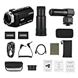 Festnight Andoer 4K HD Digital Video Camera Camcorder DV 16X Digital Zoom 3 Inch Touchscreen WiFi IR Night Vision with 2pcs Batteries + Stereo Condenser Microphone + 8X Telephoto Lens