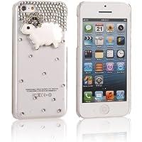 tinxi® Harte Schutzhülle für Apple iPhone 5C Hülle Schutz Case Etui Cover hardcase Rückschale transparent Künstliche Diamanten Diamond mit Schaf Muster