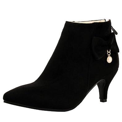 Women Elegant Bowknot Pointed Toe Kitten Heels Ankle Dress Booties Shoes