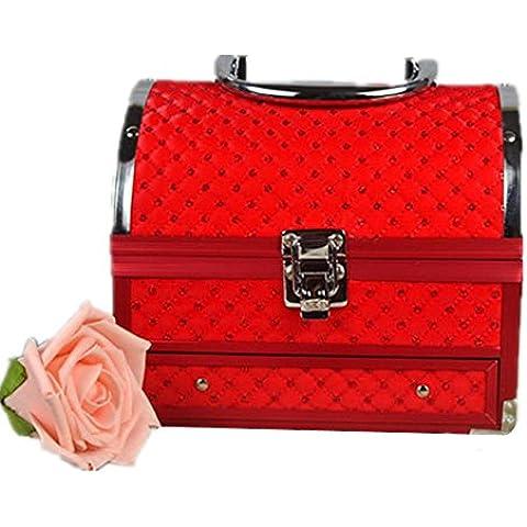Red stoccaggio cosmetici box alto - Fine specchio portatile con password di blocco Jewelry Box , red