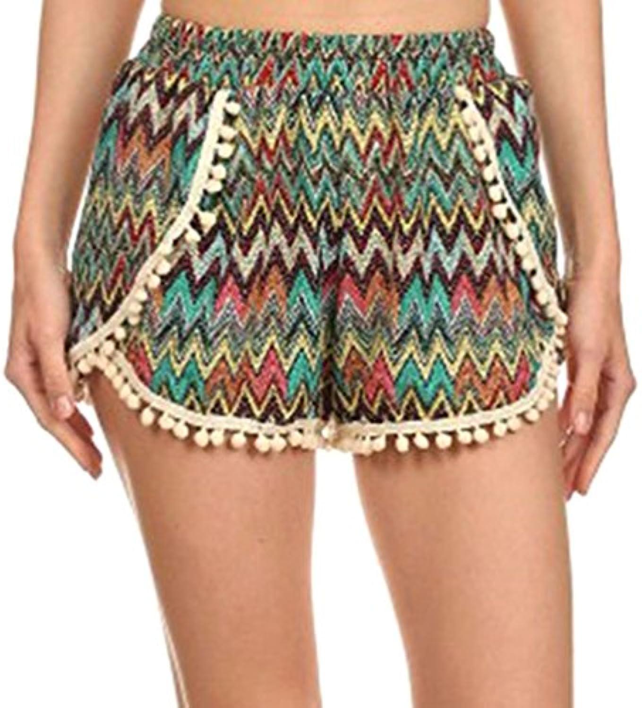 Simplicity Pantaloncini Pantaloncini da Donna con e Pompon e con Nappa e492be55093