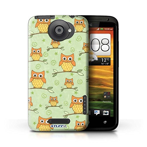 Kobalt® Imprimé Etui / Coque pour HTC One X / Orange/Bleu conception / Série Motif Hibou Orange/Vert