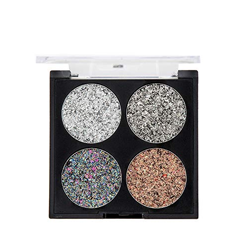 Dtuta 4 Farben Diamant Perle, Metall Pailletten Beauty Lidschatten-Palette Deluxe Make-Up...
