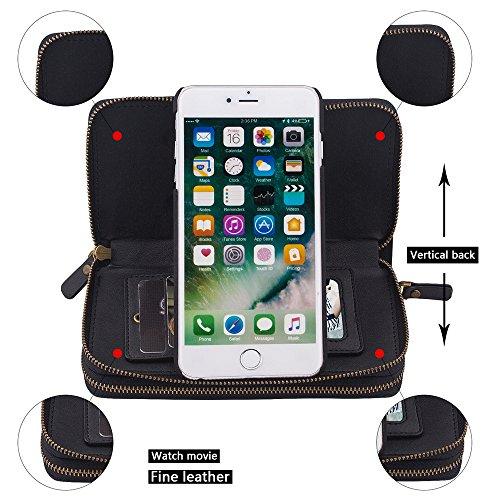 """iPhone 7 Coque,iPhone 8 Coque,SUNWAY Rétro Double Zipper Purse main détachable Leather Cards Cash Slots Miroir Flip Pouch stand Coque pour iPhone 7/8 4.7"""",Rosso Nero"""