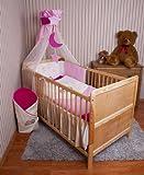 Amilian® Baby Bettwäsche Himmel Nestchen Bettset MIT STICKEREI 100x135cm Neu für Babybett Teddy rosa Chiffonhimmel