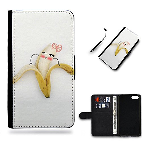 Phone Case Shop * Caso pieno della copertura di protezione Portafoglio in Pelle Caso Protettiva Custodia Coperchio Slo Huawei P9 Lite / Cute pinky banana girl peeling /