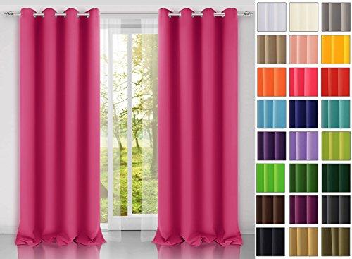modern Vorhang (Dunkel Pink 11) Schal mit Ösen 140x250 CM lichtundurchlässig Gardine, Ösenvorhang Ösenschal für Kinderzimmer,...