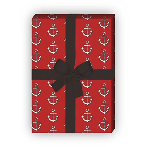 apier Set (4 Bogen) / Dekorpapier mit Ankern, rot, für schöne Geschenk Verpackung und Überraschungen basteln 32 x 48cm (Nautische Einladungen)