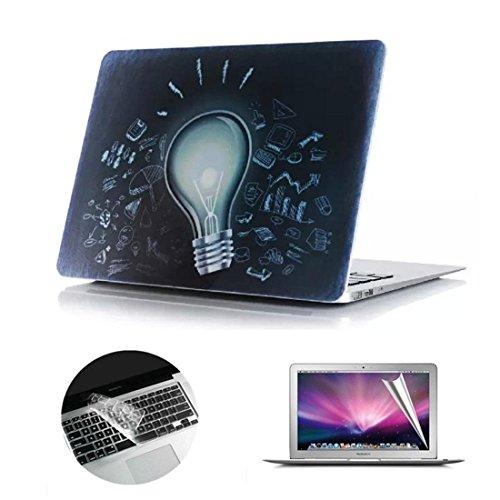 Se7enline Sanfte Schutzschale, Kunststoff, mit schwarzem Tastaturschutz aus Silikon und transparenter Displayschutzfolie, Design: schwarze Kreise, für Macbook Lamp Bulb Macbook Air 13