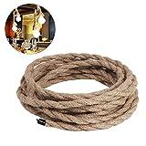 Cavo rivestito a 2 fili, 0,75 mm2, 5 m, cavo elettrico in lino intrecciato, cavo in tessuto rivestito, cavo di alimentazione per lampade industriali