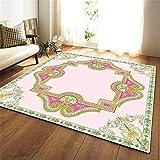 CHAOSE Leichte Weiche Polyester-Baumwolle Bedruckte Fläche Teppich Bodenmatte Blumen-Serie-Muster Für Wohnzimmer und Schlafzimmer (Rosa, 60 x 39 in(152.4 x 99.1 cm))