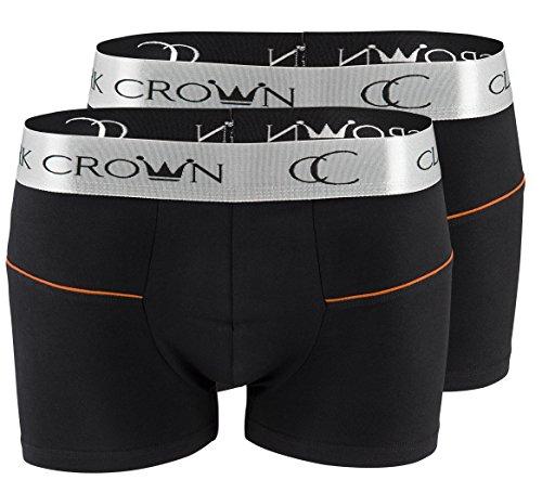 "2 pezzi CC ""Clark Crown®"" Boxershort Intimo cotone Uomo Intimo 2x nero/arancione"