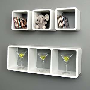 ts-ideen Lot de 4 étagères cubiques murales Blanc terne