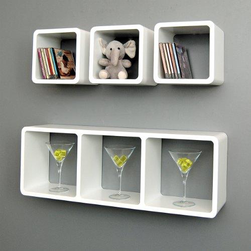 Set di 4 mensole a cubo XL da parete design lounge stile retró in colore bianco