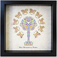 Personalizzato Mehndi Butterfly Family Tree Paper Cut box frame