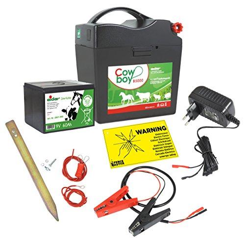 Weidezaungerät Komplettset - Extra starkes EIDER B5000 für 9V 12V 230V Betrieb - komplett Anschlussfertig geliefert - Das Bestseller Komplettpaket