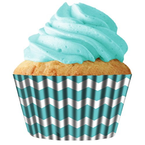 Turquoise Chevron Standard Cupcake Baking Cup Liners, 32 Count by Cupcake Creations by Siege (Chevron Cupcake Liner)