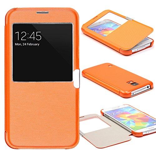 Urcover® View Case Handy Schutz-Hülle | Samsung Galaxy S5 Mini | Hart Kunststoff Orange | Elegant Wallet Cover Sicht-Fenster | leichte Schale dünne Tasche (S5 Entsperrt Mini)