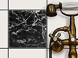 creatisto Fliesenmosaik Dekoaufkleber | Fliesen Folie Sticker Aufkleber selbstklebend Badezimmer renovieren Küche Fototapete selbstklebend | 20x20 cm Design Motiv Marmor schwarz - 1 Stück